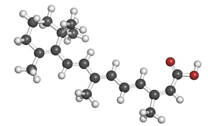 Isotretinoina: estructura molecular.