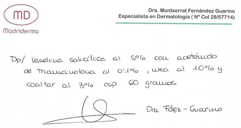 Ejemplo de una receta de formulación magistral en dermatología.