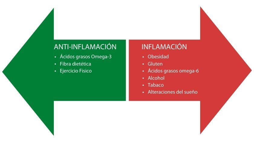 Listado de factores que regulan la inflamación del organismo y por tanto hay que considerar para lograr un estilo de vida antiinflamatorio.
